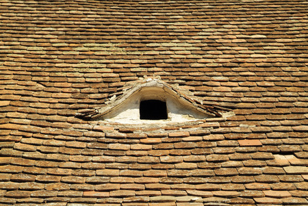 Austria, roof with brick shingles in Lower Austria