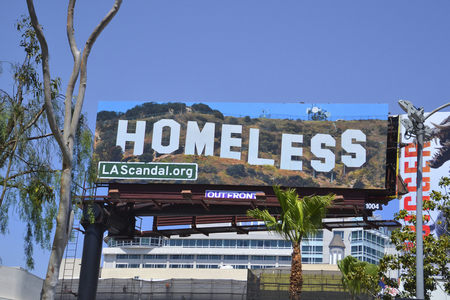 Los Angeles, CA, USA - April 14, 2018: Poster in Hollywood style for poor homeless people in the city in California