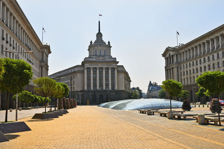 Sofia, Bulgaria - June 16, 2018: The Largo bulding, former headquarter of the communist party,  right presidents office, left ministries building Editorial