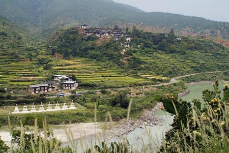 Bhutan, Rinchengang rural village in Wangdue Phodrang with eight chorten