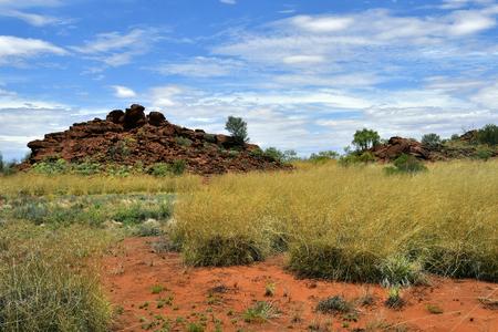Australia, NT, public Ewaninga Conservation Reserve, area with prehistoric engravings and Aborigines historical site Stock Photo - 106798267