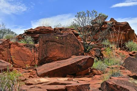 Australia, NT, public Ewaninga Conservation Reserve, area with prehistoric engravings and Aborigines historical site, Stock Photo