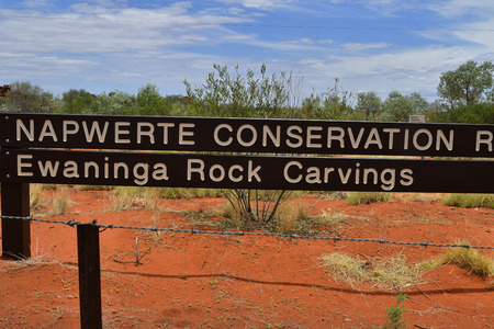 Australia, NT, sign for public Ewaninga Conservation Reserve, area with prehistoric engravings and Aborigines historical site, Editorial