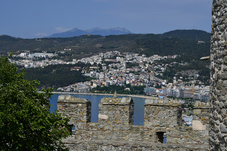 Kavala, Greece - June 11, 2018: View from medieval fortress with battlements to the city on Aegean sea in East Macedonia Editorial