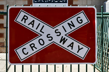 Australia, railroad crossing sign 写真素材 - 108844108