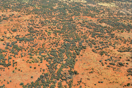 Australia, NT, aerial view of landscape and outback track south of Alice Springs