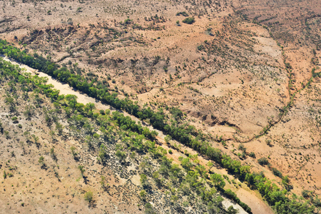 Australia, NT, aerial view over landscape with Hugh river Stock Photo