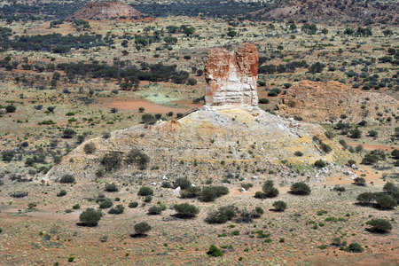 Australia, NT, aerial view of remarkable Chambers Pillar rock in Outback of Northern Territory