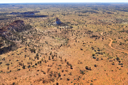 Australia, NT, aerial view of Chambers Pillar historical reserve with Castle Rock and Window Rock in Outback of Northern Territory Stock Photo