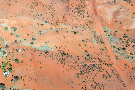 Australia, NT, aerial view to farm in outback south of Alice Springs