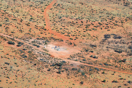 Australia, NT, bore station for water up from underneath the ground, located in outback south of Alice Springs