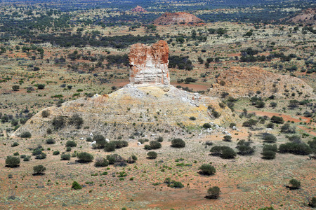 Australia, NT, aerial view over outback landscape with Chambers Pillar rock Stock Photo
