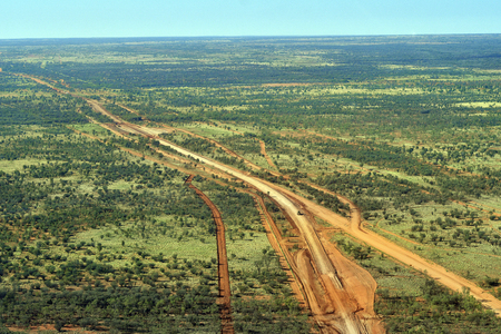 Australia, NT, aerial view of road construction on Maryvale road in outback south of Alice Springs Stock Photo
