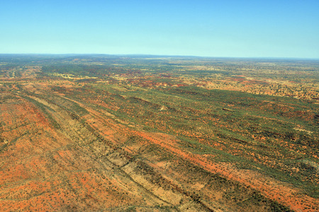 Australia, NT, aerial view from arid landscape south of Alice Springs