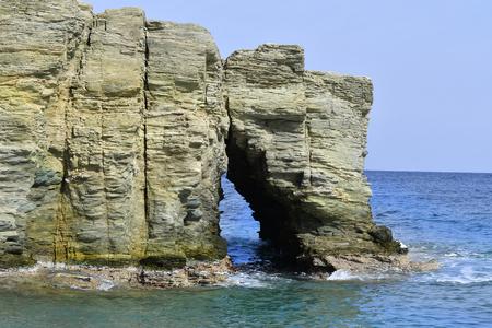 Greece, Crete, natural arch on Psaromoura beach Stock Photo