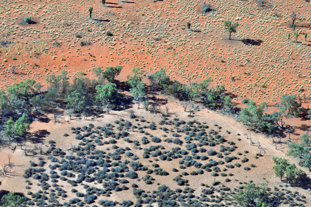 Australia, NT, aerial view over outback landscape around Alice Springs