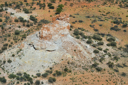 Australia, NT, aerial view of Chambers Pillar historical reserve with Window Rock in Outback of Northern Territory Stock Photo