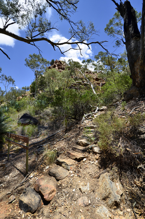 Australia, NT, footpath to Larapinta trail in Standley Chasm in McDonnell Range national park Stock Photo