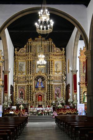Tenerife, Canary Islands, Spain - April 03, 2018:  Inside public church of Our Lady of the Rock of France aka Iglesia de Nuestra Senora de la Pena de Francia in Puerto de la Cruz Editorial