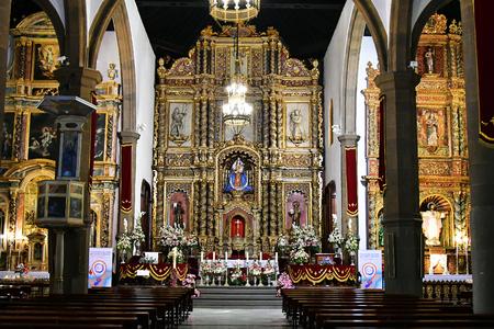 Tenerife, Canary Islands, Spain - April 03, 2018:  Inside public catholic church of Our Lady of the Rock of France aka Iglesia de Nuestra Senora de la Pena de Francia in Puerto de la Cruz