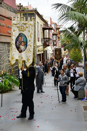 Tenerife, Canary Islands, Spain - April 01, 2018: Unidentified people by traditional religious Easter procession in the streets of Puerto de la Cruz Stock Photo - 115124600