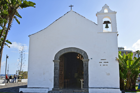 Tenerife, Canary Islands, Spain - April 03, 2018:  Unidentified people at historic chapel San Telmo in Puerto de la Cruz