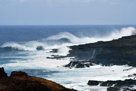 Spain, Canary Islands, Tenerife, Atlantic ocean, waves and breakers on coast