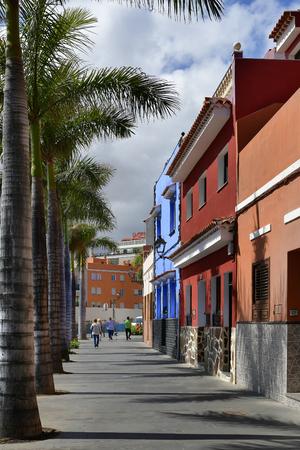 Spain, Canary Islands, Tenerife, Buildings with colorful facade in La Ranilla district, Puerto de la Cruz Stock Photo