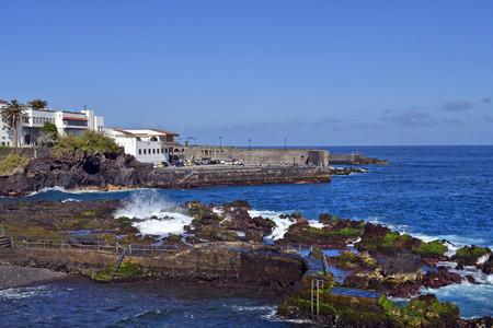 Spain, Canary Islands, Tenerife, historic bastion of Castillo San Felipe in Puerto de la Cruz