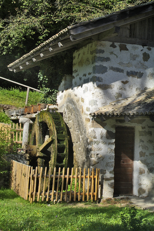 Italy, old water mill in Tiers
