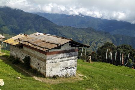 Bhutan, homes in mountain village Wamrong