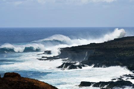 Spain, Canary Islands, Tenerife, breakers on coast of punta de Teno Stock Photo
