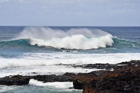 Spain, Canary Islands, Tenerife, rough Atlantic ocean, waves and breakers on coast
