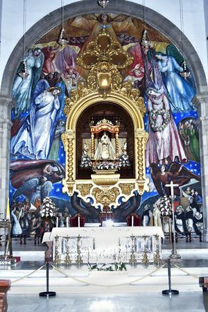 Tenerife, Canary Islands, Spain - April 06, 2018: Inside Basilica de Nuestro Senora de Candelaria with the black madonna in village Candelaria Editorial