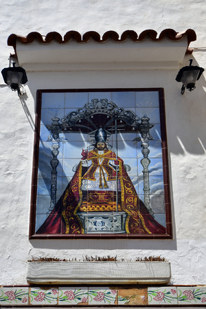 Spain, Canary Islands, Tenerife, painted ceramics on church of Santa Ana in Candelaria village Editorial