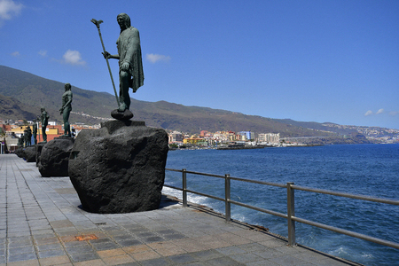 Tenerife, Canary Islands, Spain - April 06, 2018: Bronze sculptures made from sculptor Jose Abad on coast of Atlantic ocean in Candelaria village Editorial