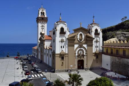 Tenerife, Canary Islands, Spain - April 06, 2018: Unidentified people around Basilica de Nuestra Senora de Candelaria in village Candelaria
