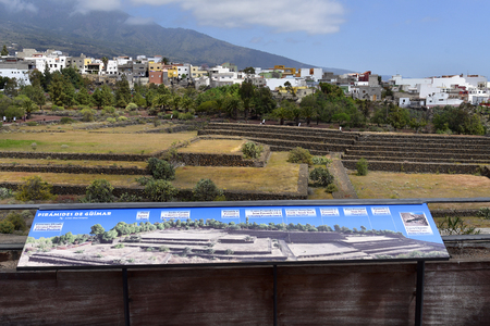 Tenerife, Canary Island, Spain - April 06, 2018: Board with description of the pyramids of Guimar Editorial