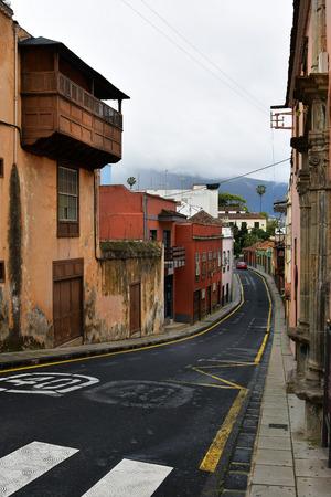 Spain, Canary Islands, Tenerife, buildings along narrow street in the mountain village La Orotava