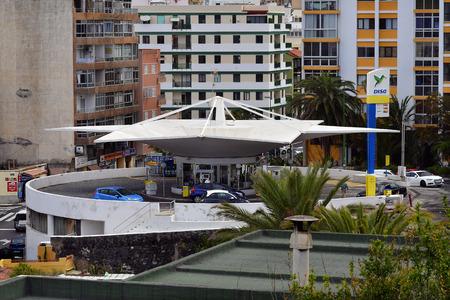 Tenerife, Canary Island, Spain - April 09, 2018: Petrol station and car park in Puerto de la Cruz Editorial