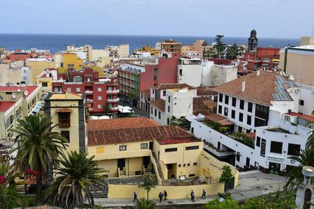Tenerife, Canary Island, Spain - April 09, 2018: Cityscape of Puerto de la Cruz with Atlantic ocean behind