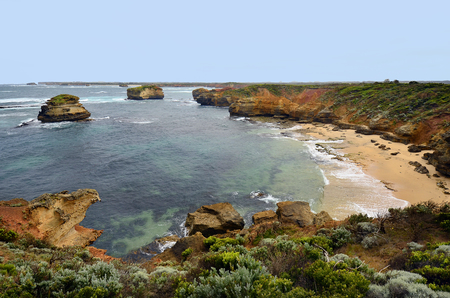 Australia, VIC, panoramic view on Bay of Martyrs in Port Campbell national park on Great Ocean Road, preferred tourist attraction and travel destination,