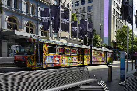 Melbourne, VIC, Australia - November 03, 2017: Colorful painted tramway in Swanston Streetl in the capital of Victoria