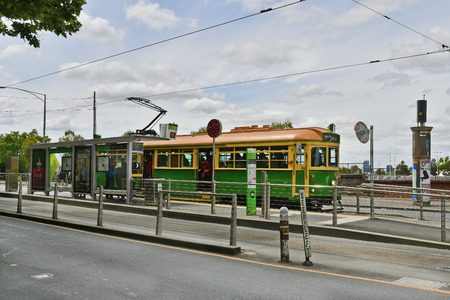 Melbourne, VIC, Australia - November 05, 2017: Public tramway of City Circle Line on station in Flinders street