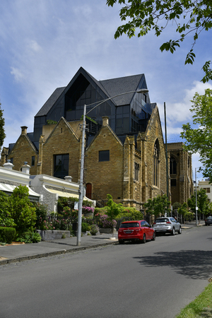 Melbourne, VIC, Australia - November 05, 2017: Former Cairns Memorial Church has been remodeled for exclusive residential building in East Melbourne