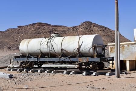 Jordan, old tank waggon in Wadi Rum station