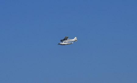 Sydney, NSW, Australia - October 29, 2017: Cessna seaplane, a luxury mode of transport between Sydney and Northern suburbs