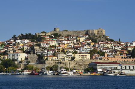 Greece, Kavala,  Castle at Panagia district with imaret and medieval town wall Standard-Bild - 120526860