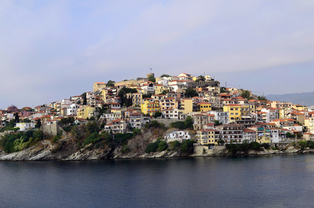 Greece, Kavala, homes and medieval castle in Panagia precinct Editorial