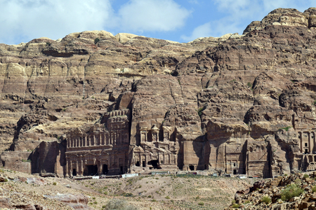 Jordan, royal tombs in  UNESCO World Heritage site of ancient Petra, a preferred travel destination in Middle East Stockfoto
